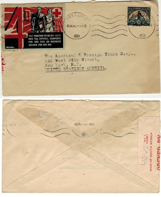 SOUTH AFRICA - 1941 1 1/2d rate censor cover to USA with 4d/RED CROSS label tied at PRETORIA.