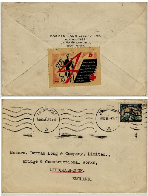 SOUTH AFRICA - 1941 1 1/2d rate cover to UK with 4d/RED CROSS label on reverse side.