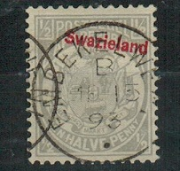 SWAZILAND - 1892 1/2d grey used with SLANTING OVERPRINT variety.  SG 10.