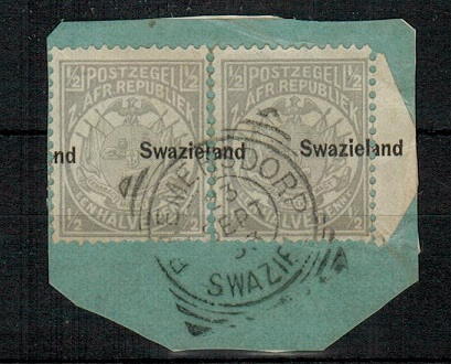 SWAZILAND - 1889 1/2d grey (x2) used on piece with MISPLACED OVERPRINT variety.  SG 4.