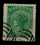 BAHAMAS - 1863 1/- PERFORATED FORGERY.