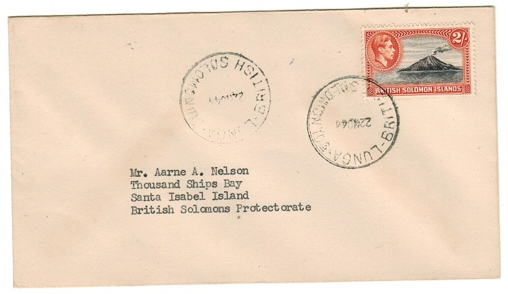 SOLOMON ISLANDS - 1944 2/- adhesive on local cover used at LUNGA.