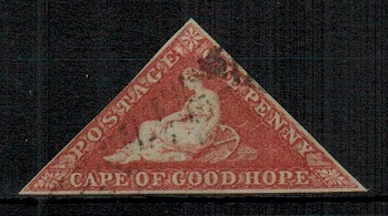 CAPE OF GOOD HOPE - 1855-63 1d deep rose-red imperforate