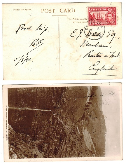 ST.HELENA - 1940 uncensored 1 1/2d rate postcard use to UK.