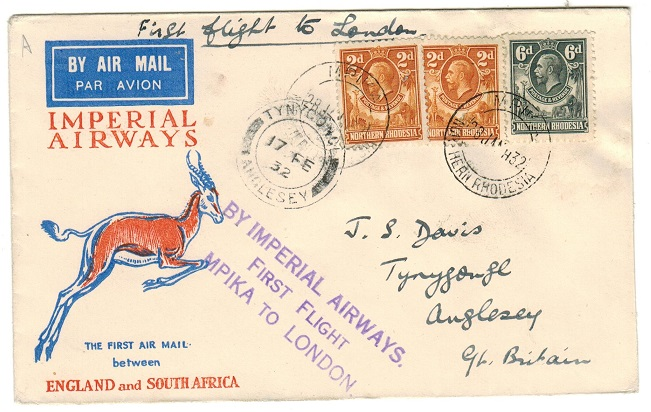 NORTHERN RHODESIA - 1932 first flight cover to UK used at MPIKA.