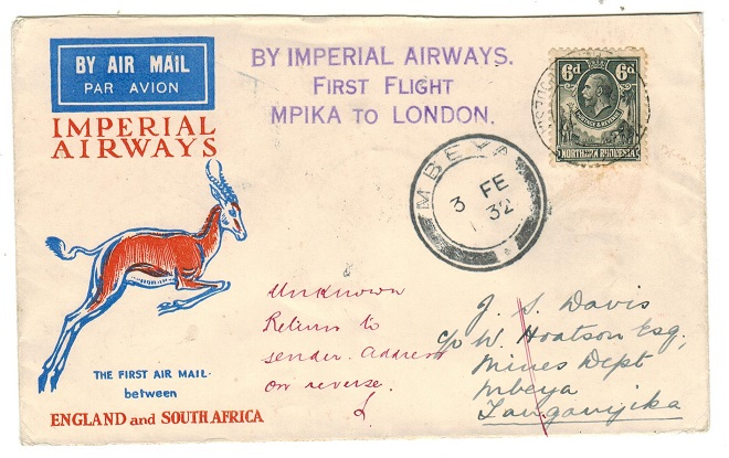 NORTHERN RHODESIA - 1932 first flight cover to Mbeya in Tanganyika used at MPIKA.
