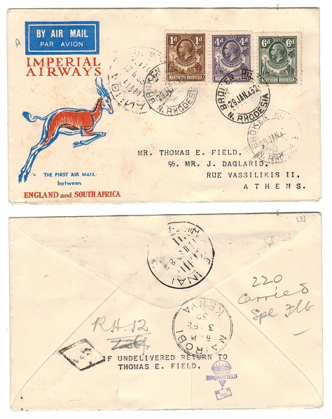 NORTHERN RHODESIA - 1932 first flight cover to Greece used at BROKEN HILL.