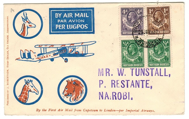 NORTHERN RHODESIA - 1932 first flight cover to Nairobi in Kenya used at BROKEN HILL.