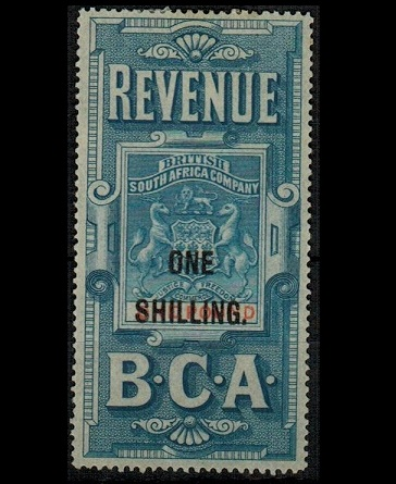 NYASALAND - 1893 1/- on £1 blue and red overprinted REVENUE/B.C.A. in fine mint condition.