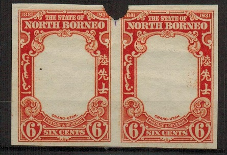 NORTH BORNEO - 1931 6c IMPERFORATE PLATE PROOF pair (SG type 74) of the frame in orange.