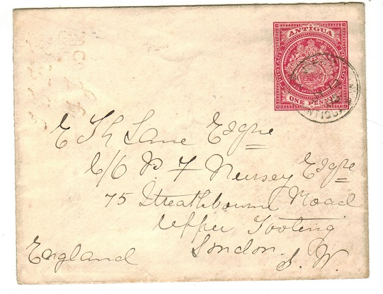 ANTIGUA - 1903 1d red PSE to UK used at ST.JOHNS.  H&G 1.