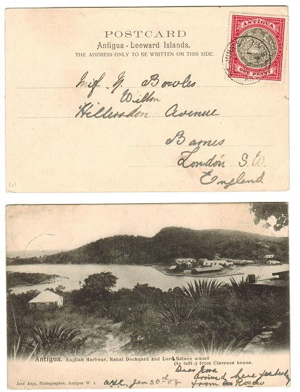 ANTIGUA - 1904 1d rate postcard use to UK used at ST.JOHNS.