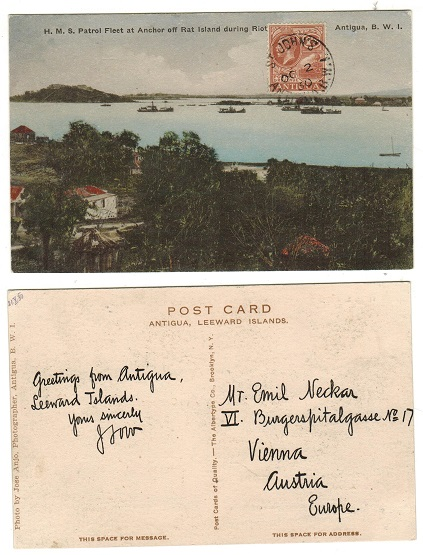ANTIGUA - 1930 1 1/2d rate postcard use to Austria used at ST.JOHNS.