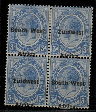 SOUTH WEST AFRICA - 1926 3d ultramarine mint block of four with MISPLACED OVERPRINT.  SG 32.