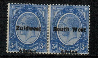 SOUTH WEST AFRICA - 1926 3d deep bright blue mint pair with variety OVERPRINT MISPLACED. SG 32a.