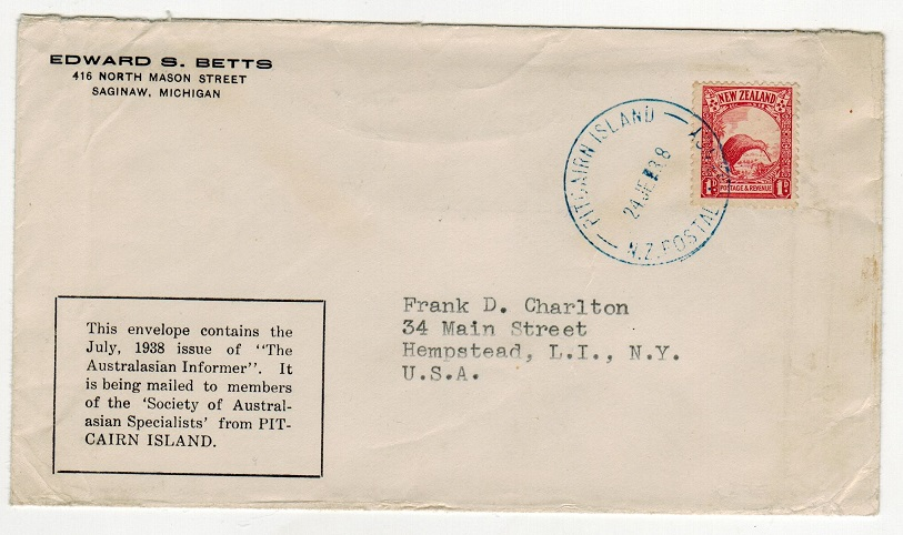 PITCAIRN ISLAND - 1938 1d rate cover to USA cancelled PITCAIRN ISLAND in