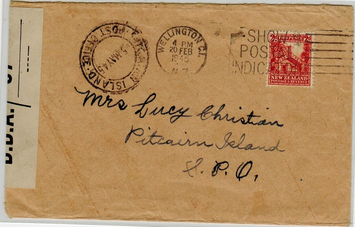 PITCAIRN ISLAND - 1945 inward censor cover from New Zealand.