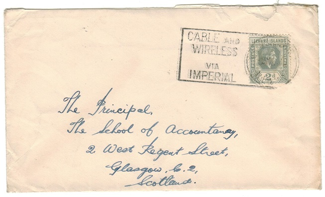 ST.KITTS - 1940 2d rate cover to UK cancelled by CABLE AND WIRELESS/CHARLESTON cancel.