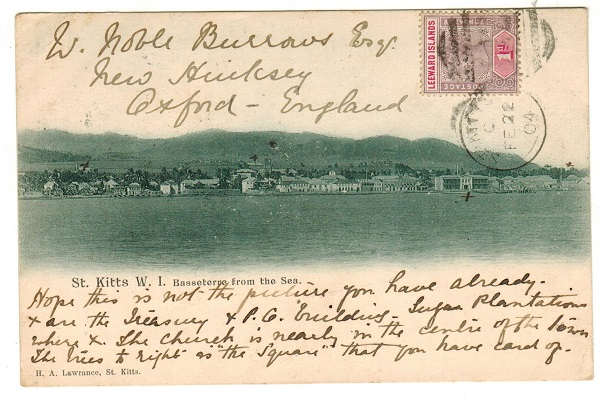 ST.KITTS - 1904 1d rate postcard use to UK.
