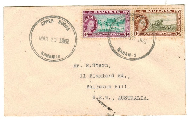 BAHAMAS - 1961 5d rate cover to Australia used at UPPER BOGUE.