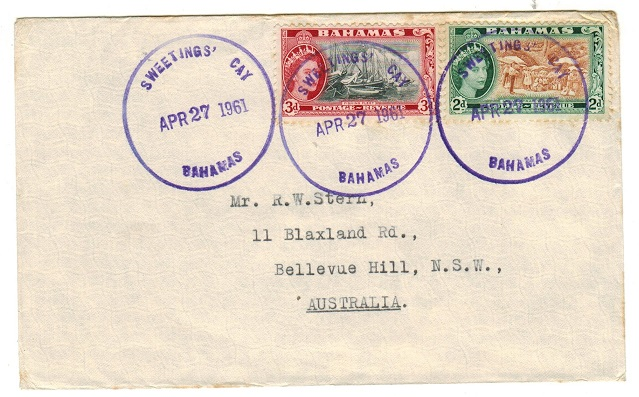 BAHAMAS - 1961 5d rate cover to Australia used at SWEETINGS CAY.