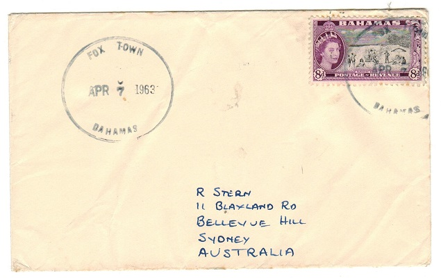 BAHAMAS - 1963 8d rate cover to Australia used at FOX TOWN.
