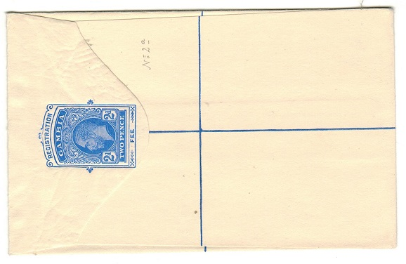 GAMBIA - 1912 2d ultramarine RPSE (size F) unused.  H&G 2.