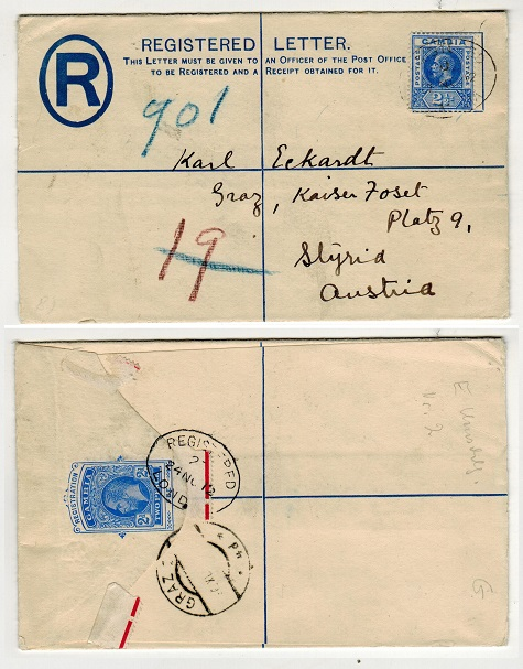 GAMBIA - 1912 2d ultramarine RPSE (size G) to Austria uprated  with 2 1/2d adhesive.  H&G 2a.