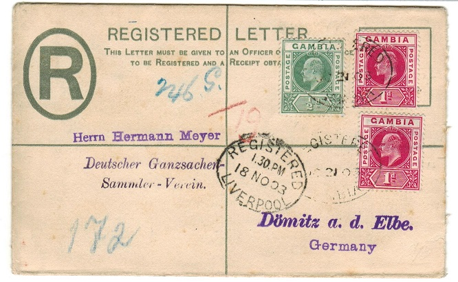 GAMBIA - 1902 2d ultramarine RPSE (size F) uprated to Germany.  H&G 1.