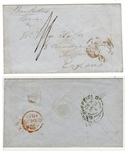 BARBADOS - 1852 stampless 2/- rated cover to UK with BARBADOS double arc cancel on reverse.