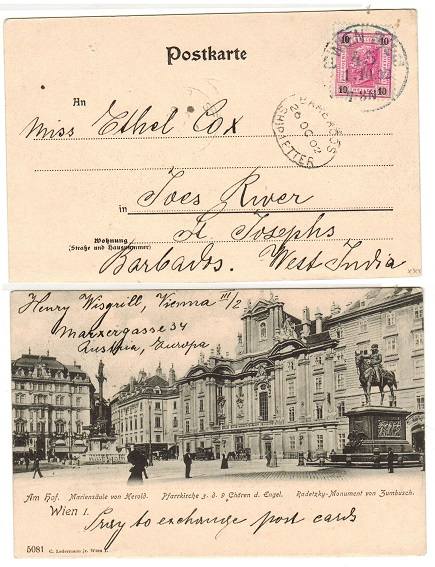BARBADOS - 1902 inward postcard from Austria with scarce BARBADOS/SHIP LETTER cancel applied.