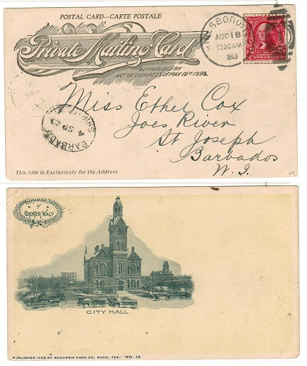 BARBADOS - 1903 inward postcard from USA with scarce BARBADOS/SHIP LETTER cancel applied.