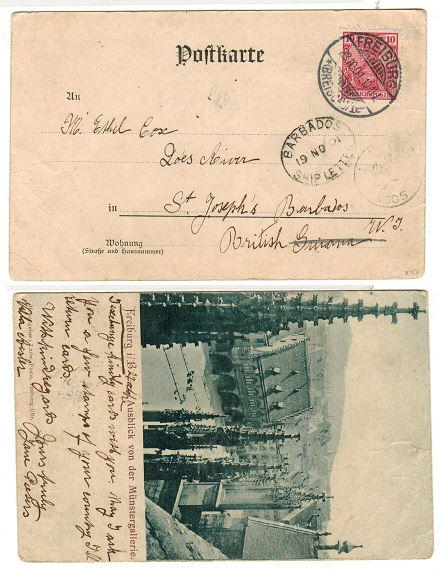BARBADOS - 1901 inward postcard from Germany with scarce BARBADOS/SHIP LETTER cancel applied.