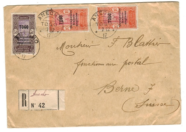 TOGO (French) - 1917 50c rate registered cover to Switzerland used at ANECHO.