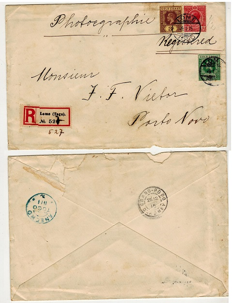 TOGO - 1915 4 1/2d rate cover to Dahomey used at LOME sent via French sector.