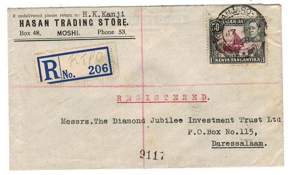 K.U.T. - 1951 50c rate registered cover used locally at KILIMANJARO TPO (Down).