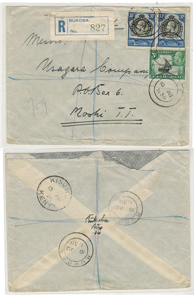K.U.T. - 1936 65c rate registered cover used locally at BUKOBA.