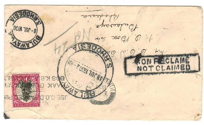 SOUTHERN RHODESIA - 1930 inward NOT CLAIMED cover from South Africa.