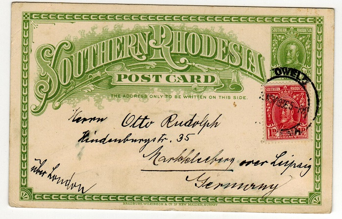 SOUTHERN RHODESIA - 1931 1/2d green PSC to Germany used at GWELO.  H&G 3.