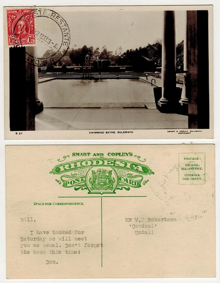 SOUTHERN RHODESIA - 1933 1d rate postcard use to Umtali used at POSTE RESTANTE/BULAWAYO.