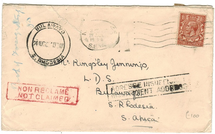 SOUTHERN RHODESIA - 1934 inward NOT CLAIMED cover from UK.