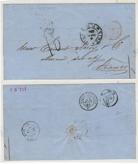 SINGAPORE - 1861 Stampless outer wrapper rated