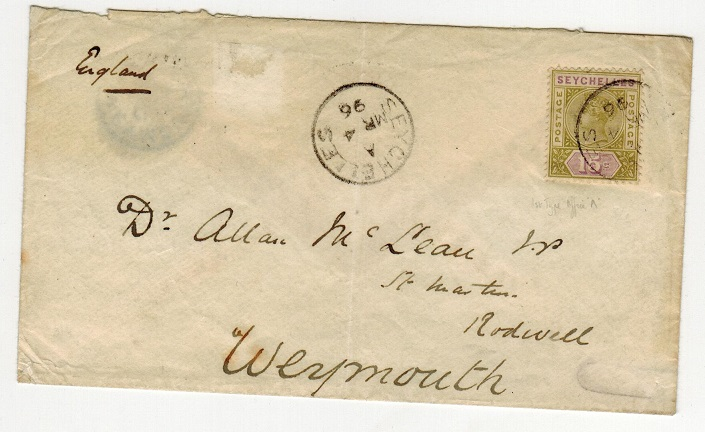 SEYCHELLES - 1896 15c rate cover to UK.