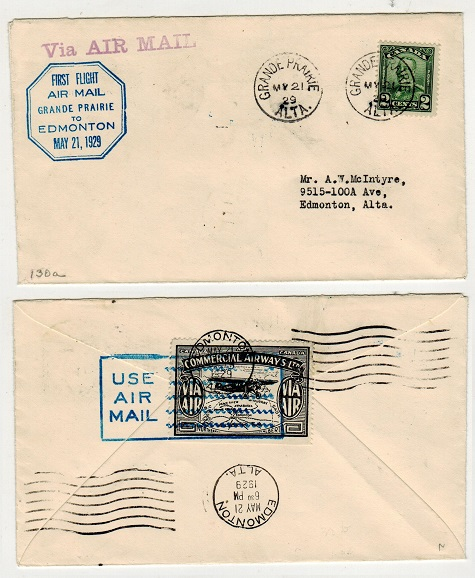CANADA - 1929 first flight cover to Edmonton from GRANDE PRAIRIE.