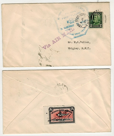 CANADA - 1929 first flight cover to Wrigley used from FORT GOOD HOPE.
