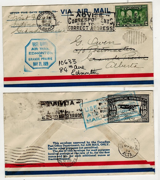 CANADA - 1929 first flight cover to Alberta used from EDMONTON.