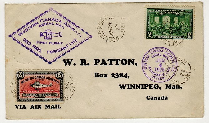 CANADA - 1928 first flight cover to Winnipeg used from ROLLING PORTAGE.