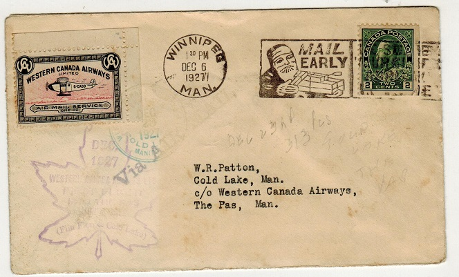 CANADA - 1927 first flight cover to The Pas used from WINNIPEG.