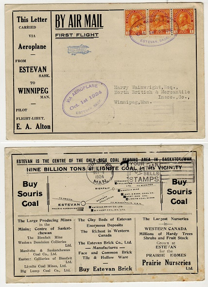 CANADA - 1924 first flight cover to Winnipeg used from ESTEVAN.