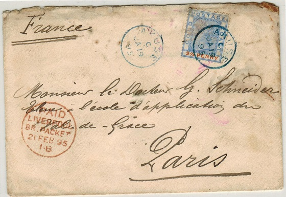 GOLD COAST - 1895 2 1/2d rate cover to France used at AKUSE with